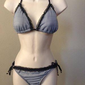 GUESS Bikini Black White Checker/Plaid size L #360